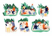 Picnic People. Outdoor Family Happy Group Together Eating Dinner In Green Summer Park Vector Picnic  poster