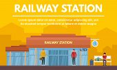 Railway Station Building Concept Banner. Flat Illustration Of Railway Station Building Vector Concep poster