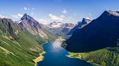 Aerial View On Geiranger Town, Harbor And Fjord In More Og Romsdal County In Norway Famous For His B poster