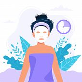 Skin Care Routine.woman With Sheet Mask On Her Face, Beauty Routine. Cute Vector Illustration In Fla poster