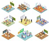 School Rooms Isometric. Library Dining Room Lecture Classroom Gym Sports Hall Toilet College Univers poster