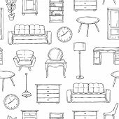 Sketch Furniture Pattern. Living Room Doodle Vintage Interior Vector Isolated Wallpaper Texture. Ill poster