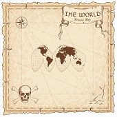 World Treasure Map. Pirate Navigation Atlas. Boggs Interrupted Eumorphic Projection. Old Map Vector poster