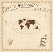 World Pirate Map. Ancient Style Navigation Atlas. Loximuthal Projection. Old Map Vector. poster