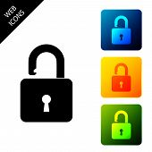 Open Padlock Icon Isolated. Opened Lock Sign. Cyber Security Concept. Digital Data Protection. Safet poster