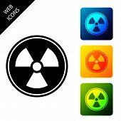 Radioactive Icon Isolated. Radioactive Toxic Symbol. Radiation Hazard Sign. Set Icons Colorful Squar poster