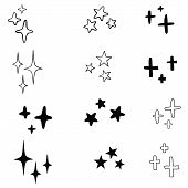 Set Of Black Hand Drawn Vector Stars In Doodle Style On White Background. Could Be Used As Pattern O poster