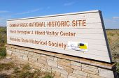 stock photo of western nebraska  - Chimney Rock National Historic Site sign - JPG