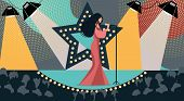 Cartoon Woman In Dress On Stage Sing Song Holding Microphone Hand Vector Illustration. Tv Talent Sho poster