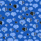 Seamless Pattern Watercolor Hearts Seamless Background. Gray, White And Blue Watercolor Heart Patter poster