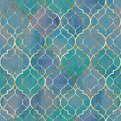 Watercolor Abstract Geometric Seamless Pattern. Vintage Decorative Moroccan Texture With Gold Line.  poster