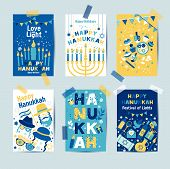 Set Of Colors Six Hanukkah Greeting Cards With Candles, Dreidel, Jewish Star, Oil, Menorah, Donut, C poster