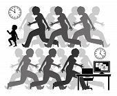 The Pressure Of Working Mother. Exhausted Mom Between Childcare And The Job At Work, A Race Against  poster