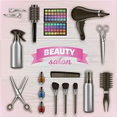 Hairdresser Tools And Cosmetics On Wooden Surface. Scissors And Hairdryer. Logo On Beauty Salon. Vec poster