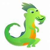 Tail Dragon Icon. Cartoon Of Tail Dragon Vector Icon For Web Design Isolated On White Background poster