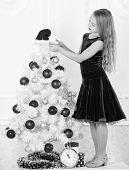 Girl Velvet Dress Feel Festive Near Christmas Tree. Make This Day Best Holiday Ever. Very Special Ti poster