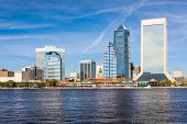 Jacksonville, Florida, USA downtown skyline over St. Johns River.  poster
