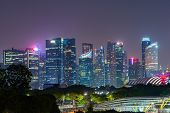 Singapore Downtown Skyline At Night. Financial District And Business Centers In Technology Smart Urb poster