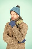 Winter Fashion Knitted Clothes. Man Knitted Hat Gloves And Scarf Winter Fashion. Man Wear Knitted Ac poster