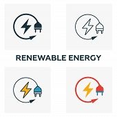 Renewable Energy Icon Set. Four Elements In Diferent Styles From Power And Energy Icons Collection.  poster