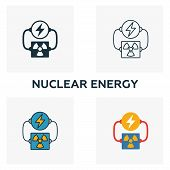 Nuclear Energy Icon Set. Four Elements In Diferent Styles From Power And Energy Icons Collection. Cr poster
