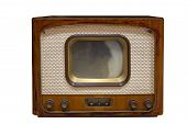 Vintage Television  Old Tv Isolated On White Background. Old-fashioned Television Close Up. Old Grun poster