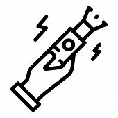 Stop Violence Stun Gun Icon. Outline Stop Violence Stun Gun Vector Icon For Web Design Isolated On W poster
