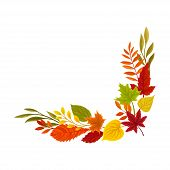 Lower Right Right Corner Of The Autumn Leaves. Vector Illustration On A White Background. poster