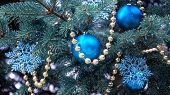 Close-up Of A Christmas Tree With Rose Gold And Turquoise Decorations (balls, Snowflakes, Bows, Bead poster