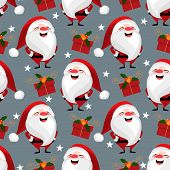 Christmas Holiday Season Seamless Pattern Of Santa Claus With Gift Box And Star. Cute Christmas Holi poster