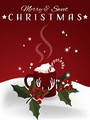 Christmas Holiday Season Background With Red Mug Of Hot Chocolate With Marshmallow And Candy Canes N poster