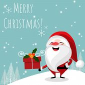 Christmas Holiday Season Background Of Santa Claus With Gift Box And Merry Christmas Text. Cute Chri poster