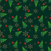 Christmas Elements Seamless Pattern With Christmas Tree, Christmas Ball And Snowflakes For Greeting  poster