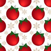 Christmas Holiday Season Seamless Pattern With Christmas Baubles Ball, Ribbon And Snowflakes For Gre poster