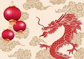 Chinese Dragon Vector Illustration. Red Serpent And Hand Drawn Clouds With Golden Silhouette Drawing poster