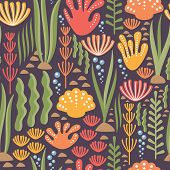 Seamless Repeating Pattern - Corals, Seaweed, Seashells, Stones And Fun Bubbles On A Dark Purple Bac poster