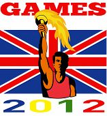 Постер, плакат: Игры 2012 спортсмен с пылающий факел ретро британский флаг