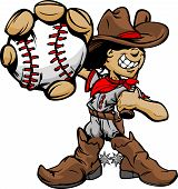 Cartoon Cowboy Kid Baseball Player Holding Ball