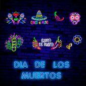 Neon Mexican Icons. Icon From Cinco De Mayo. Mexico Neon Sign. Day Of The Dead Dia De Muertos . Neon poster