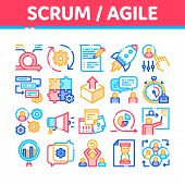 Scrum Agile Collection Elements Vector Icons Set Thin Line. Agile Rocket And Document File, Gear And poster
