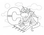 Letter C And Funny Cartoon Unicorn. Animals Alphabet A-z. Coloring Page. Printable Worksheet. Handwr poster