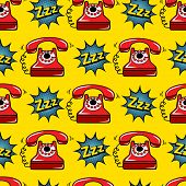 Abstract Seamless Telephone Pattern For Girls, Boys, Clothes. Creative Vector Telephone Background W poster