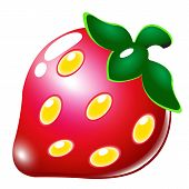 Vector Sweet Fresh Strawberry Isolated On White Background. Fresh Fruit Organic, Illustration Of Red poster