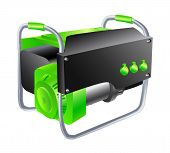 image of disaster preparedness  - Green and black Generator on a white background - JPG