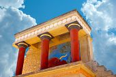 stock photo of minos  - Knossos palace at Crete Greece Knossos Palace is the largest Bronze Age archaeological site on Crete and the ceremonial and political centre of the Minoan civilization and culture - JPG