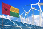 Guinea-bissau Solar And Wind Energy, Renewable Energy Concept With Windmills - Renewable Energy Agai poster