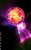 picture of polio  - Digital illustration of  Polio virus in colour  background - JPG