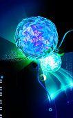 stock photo of polio  - Digital illustration of  Polio virus in colour  background - JPG