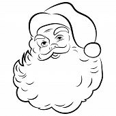 Santa Claus Face. Portrait Of Santa. Black White Christmas Pattern. Sketch The Head Of Santa Claus.  poster