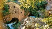 Watermill At Vis River In Circus Of Navacelles (cirque De Navacelles) In Cevennes National Park. Gar poster
